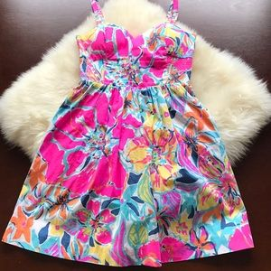 EUC Lilly Pulitzer floral cotton sundress size 0!